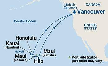 Map showing the port stops for Hawaiian Islands. For more details, refer to the List of Port Stops table on this page.