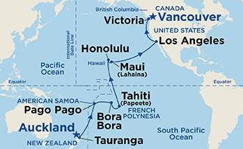 Map showing the port stops for Hawaii, Tahiti & South Pacific Crossing. For more details, refer to the disclaimer below and the itinerary port table on this page.