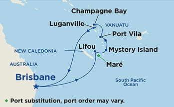 Map showing the port stops for New Caledonia & Vanuatu. For more details, refer to the List of Port Stops table on this page.
