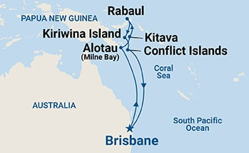 Map showing the port stops for Papua New Guinea. For more details, refer to the List of Port Stops table on this page.