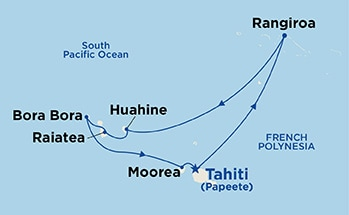 Map shows port stops for Tahiti & French Polynesia. For more details, refer to the List of Port Stops table on this page