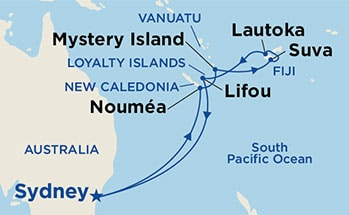 Map showing the port stops for Fiji. For more details, refer to the List of Port Stops table on this page.