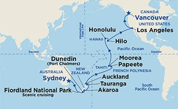 Map showing the port stops for Hawaii, Tahiti & South Pacific Crossing. For more details, refer to the List of Port Stops table on this page.