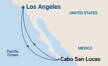 Map showing the port stops for Cabo San Lucas Getaway. For more details, refer to the List of Port Stops table on this page.