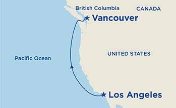 Map showing the port stops for Pacific Coastal. For more details, refer to the disclaimer below and the itinerary port table on this page.