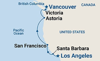 Map shows port stops for Pacific Wine Country. For more details, refer to the List of Port Stops table on this page.