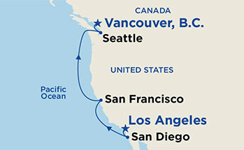Map showing the port stops for Pacific Wine Country. For more details, refer to the disclaimer below and the itinerary port table on this page.