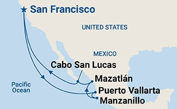 Map showing the port stops for Mexican Riviera