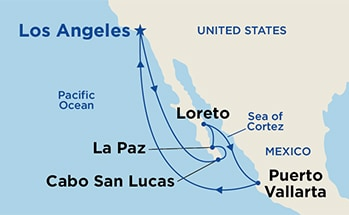 Map showing the port stops for Baja Peninsula & Sea of Cortez. For more details, refer to the disclaimer below and the itinerary port table on this page.