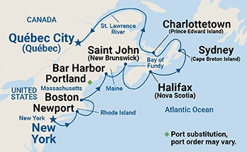 Map showing the port stops for Classic Canada & New England. For more details, refer to the List of Port Stops table on this page.
