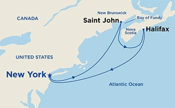 Map showing the port stops for Canadian Atlantic Provinces Getaway. For more details, refer to the List of Port Stops table on this page.