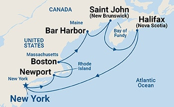 Map shows port stops for Canada & New England. For more details, refer to the List of Port Stops table on this page.