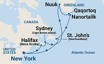 Map showing the port stops for Greenland & Canada. For more details, refer to the List of Port Stops table on this page.