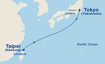 Map showing the port stops for Taipei to Tokyo. For more details, refer to the List of Port Stops table on this page.