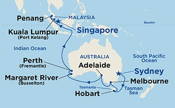 Asia & Australia between Sydney, Australia and Singapore