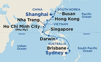 Map showing the port stops for Asia & Australia. For more details, refer to the List of Port Stops table on this page.