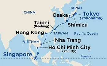 Map showing the port stops for Southeast Asia & Japan. For more details, refer to the List of Port Stops table on this page.