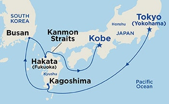Map shows port stops for Kyushu & Korea. For more details, refer to the List of Port Stops table on this page