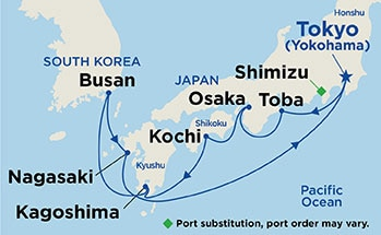 Map showing the port stops for Fall Foliage Kyushu & Shikoku. For more details, refer to the disclaimer below and the itinerary port table on this page.
