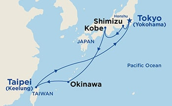 Map showing the port stops for Japan & Taiwan (from Tokyo). For more details, refer to the disclaimer below and the itinerary port table on this page.