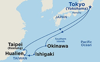 Map showing the port stops for Kyushu Spring Flowers. For more details, refer to the disclaimer below and the itinerary port table on this page.