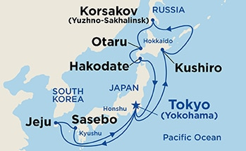 Map showing the port stops for Hokkaido Explorer. For more details, refer to the List of Port Stops table on this page.