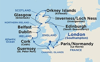Map showing the port stops for British Isles (with Kirkwall). For more details, refer to the disclaimer below and the itinerary port table on this page.
