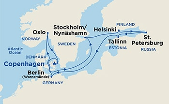 Map showing the port stops for Scandinavia & Russia (from Copenhagen). For more details, refer to the List of Port Stops table on this page.