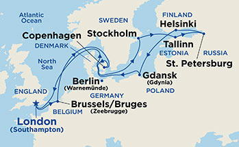 Map showing the port stops for Baltic Heritage. For more details, refer to the List of Port Stops table on this page.