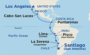 Map showing the port stops for Andes & South America. For more details, refer to the List of Port Stops table on this page.