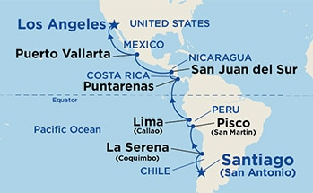 Map showing the port stops for Andes & South America. For more details, refer to the disclaimer below and the itinerary port table on this page.