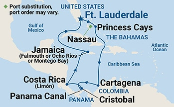 Map showing the port stops for Panama Canal with Costa Rica & Caribbean. For more details, refer to the disclaimer below and the itinerary port table on this page.