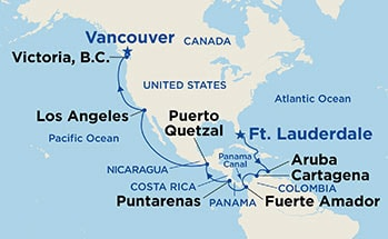 Map showing the port stops for Panama Canal & British Columbia. For more details, refer to the List of Port Stops table on this page.