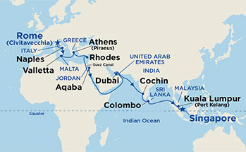Map showing the port stops for Mediterranean & Southeast Asia. For more details, refer to the List of Port Stops table on this page.