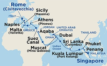 Map shows port stops for Mediterranean & Southeast Asia. For more details, refer to the List of Port Stops table on this page