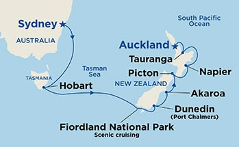 Australia & New Zealand between Auckland, New Zealand and Sydney, Australia
