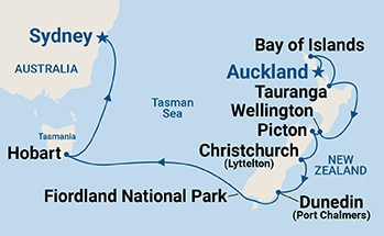 Map shows port stops for Australia & New Zealand. For more details, refer to the List of Port Stops table on this page.