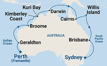 Map shows port stops for Northern Explorer. For more details, refer to the List of Port Stops table on this page.