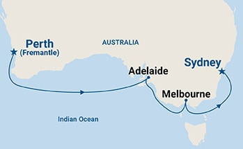 Map shows port stops for Southern Australia Explorer. For more details, refer to the List of Port Stops table on this page.