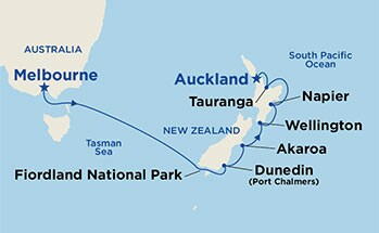 Map showing the port stops for New Zealand. For more details, refer to the disclaimer below and the itinerary port table on this page.
