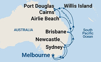 Map shows port stops for Queensland. For more details, refer to the List of Port Stops table on this page.