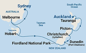Map showing the port stops for Australia & New Zealand. For more details, refer to the List of Port Stops table on this page.