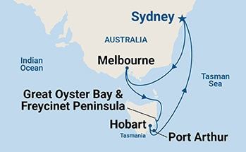Map shows port stops for Tasmania. For more details, refer to the List of Port Stops table on this page.