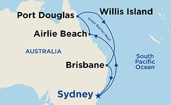 Map shows port stops for Queensland. For more details, refer to the List of Port Stops table on this page