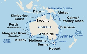 Map showing the port stops for Round Australia. For more details, refer to the List of Port Stops table on this page.