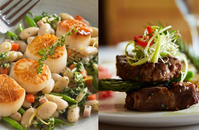 Pan-seared scallops over a bed of beans; steak medallions garnished with green vegetables