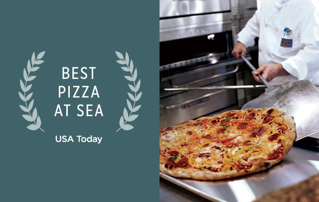 Best Pizza at Sea, USA Today. Pizza coming out of an oven