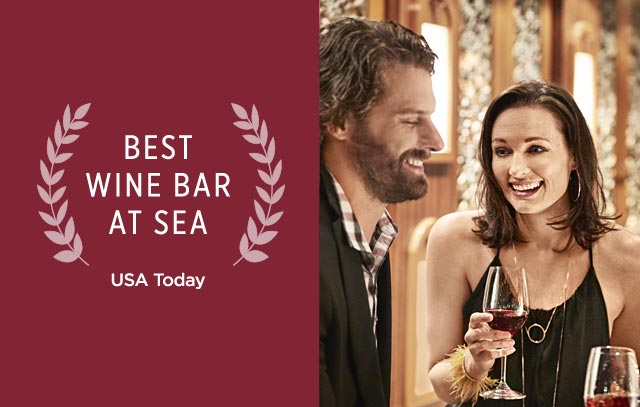 Best Wine Bar at Sea USA Today. Man and woman sitting at table with female server pouring wine into glasses