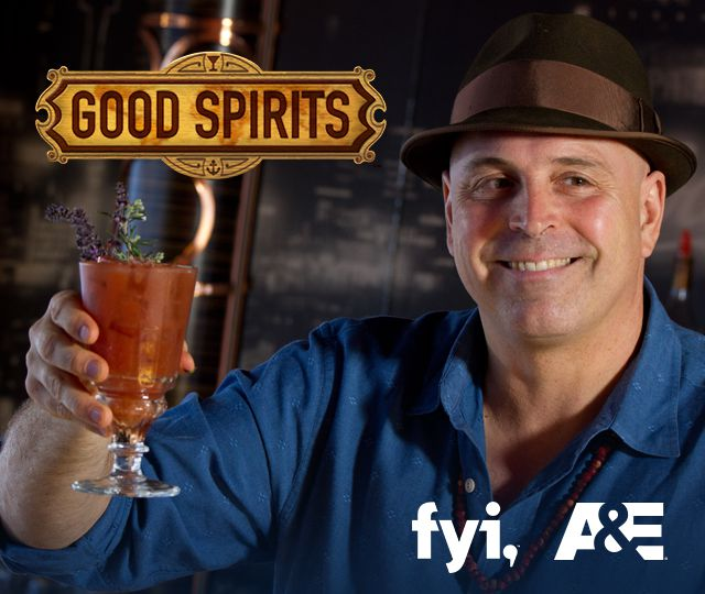 Good Spirits logo, fyi, A&E.  Host, Matthew Biancaniello holding a beverage
