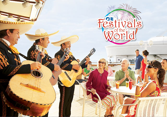 Festivals of the World logo; Mariachi band playing guitars on deck for 4 guests sitting around a table with drinks